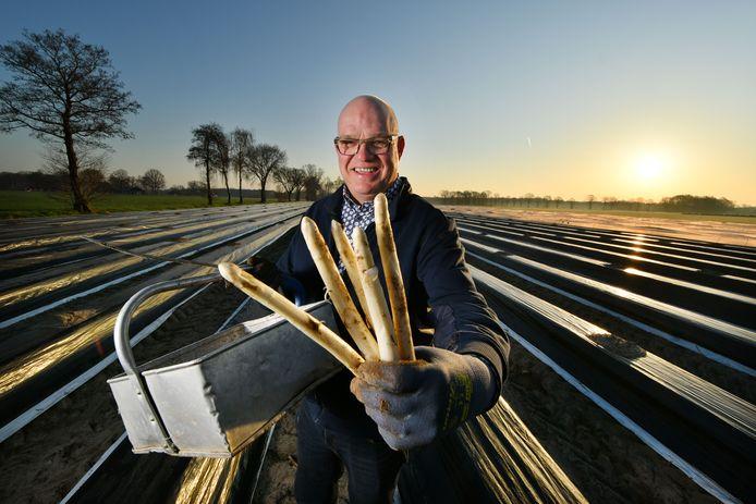 Harry Lubberink stak dinsdag de eerste asperges van het seizoen. Net als vorig jaar kwam de zon precies op tijd voor een Pasen met het witte goud op het menu.