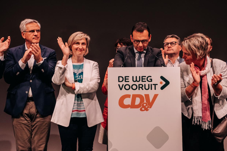 De CD&V-kopstukken op de verkiezingsdag van mei 2019.e Beeld Wouter Van Vooren