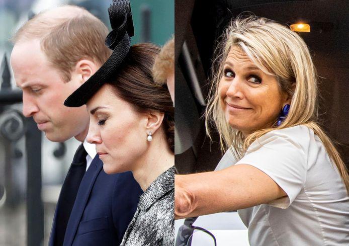 Links: de Britse prins William en Kate Middleton. Rechts: Koningin Máxima.