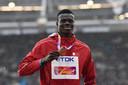 Abdalelah Haroun op 8 augustus 2017, nadat hij derde is geworden op de 400 meter op de WK atletiek in Londen.