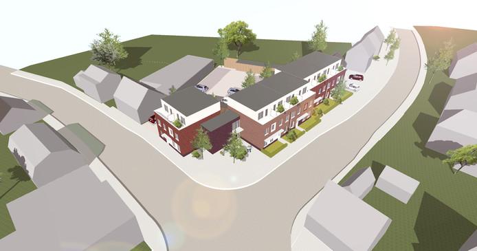Het conceptontwerp van de vijf energiezuinige nultreden- en tien maisonettewoningen.