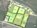 De plannen van Bierbrouwerij Oijen in kaart. Met links de nieuwe entree en onder het nieuwe parkeerterrein. Het hoofdgebouw is rechtsboven ingetekend.