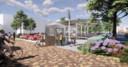 Een sfeerimpressie van het nieuwe Wetplein met een parkeergarage voor fietsers.