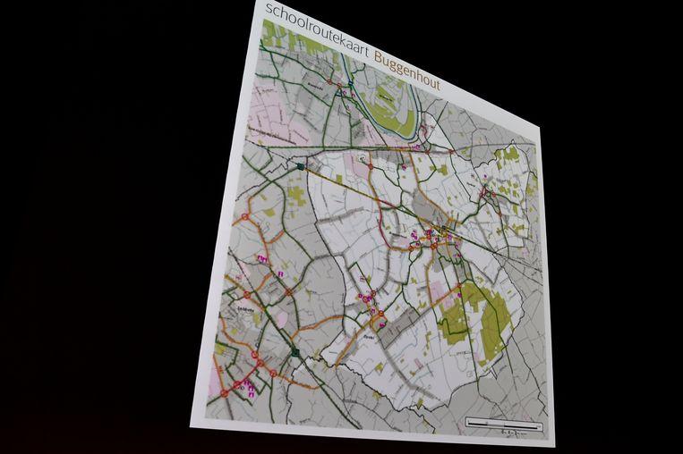 De groene trajecten op de kaart zijn veilige routes.