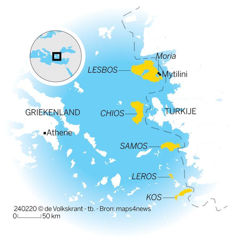 De Griekse eilanden met vluchtelingenkampen. Beeld