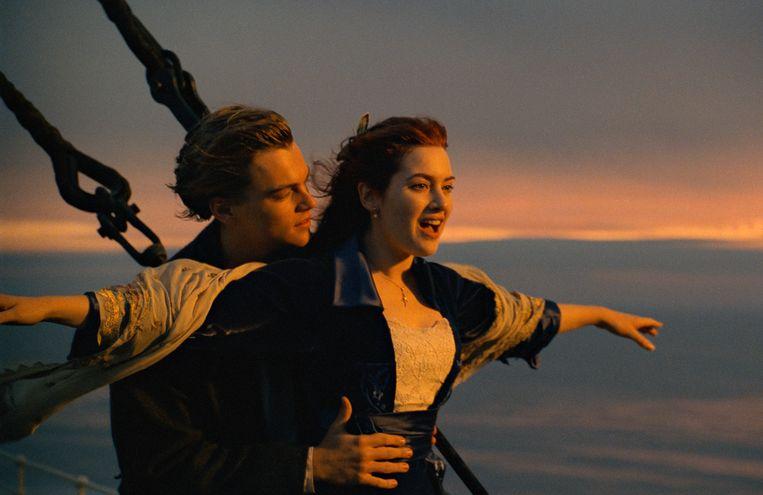Leonardo DiCaprio en Kate Winslet in de film 'Titanic'.