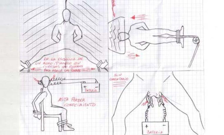 Dankzij medegedetineerden bereikten de tekeningen die Aarrass maakte van de gruwelijke foltermethoden waarvan hij slachtoffer werd, de buitenwereld.  Beeld © Private