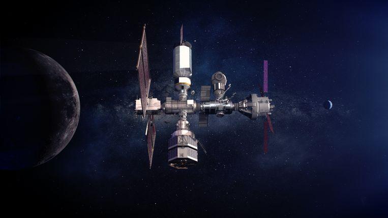 Impressie van de Lunar Gateway, een ruimtestation in een baan om de maan, vanwaar mensen richting maanoppervlak kunnen zakken. Beeld Nasa