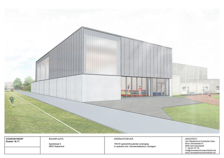 Een impressie van de nieuwe turnhal. Rechts de achterkant van het bestaande sportcentrum.