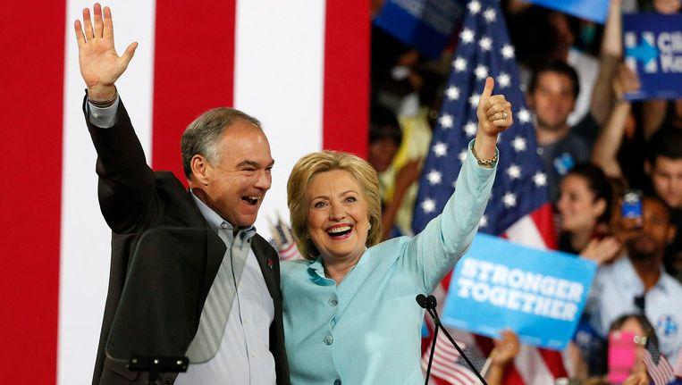 Tim Kaine en Hillary Clinton. Beeld EPA
