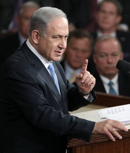 """Benjamin Netanyahu in het Amerikaans Congres: """"Als premier van Israël heb ik een heel erg grote bezorgdheid die de overleving van mijn land en volk bedreigt: Irans zoektocht naar nucleaire wapens."""""""