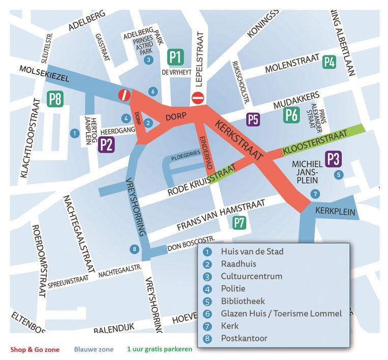 Een kaartje met de actuele stand van zaken in het Lommels stadscentrum.