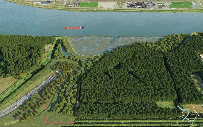 De tunnelmond van de Scheldetunnel die Linkeroever verbindt met haven en het noorden van de stad op Rechteroever