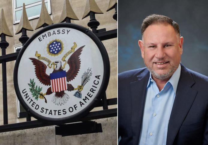 De VS-ambassade in Brussel, waar Michael Adler binnenkort wellicht de dienst uitmaakt
