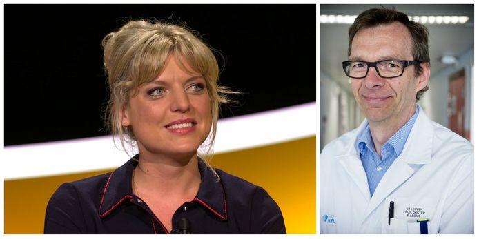 Links: Ella Leyers, rechts: Dr. Eric Legius, diensthoofd Centrum Menselijke Erfelijkheid aan het UZ Leuven.