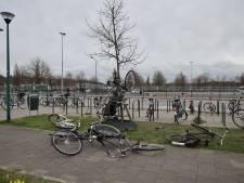 Vandalen hangen fietsen in boom bij Efteling busstation in Kaatsheuvel