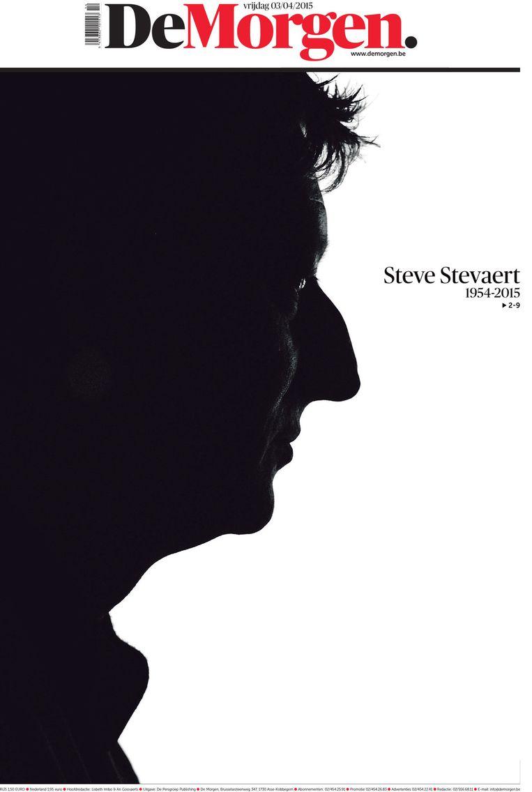 De voorpagina van 'De Morgen', een dag na het overlijden van Steve Stevaert. Beeld rv