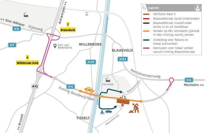 Het Agentschap Wegen en Verkeer (AWV) start in mei met grote werken op de Koning Boudewijnlaan (N16) in Willebroek.