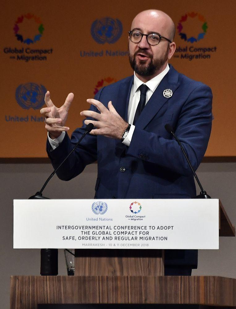 Premier Michel tijdens zijn speech op de VN-conferentie in Marrakech. Beeld BELGA