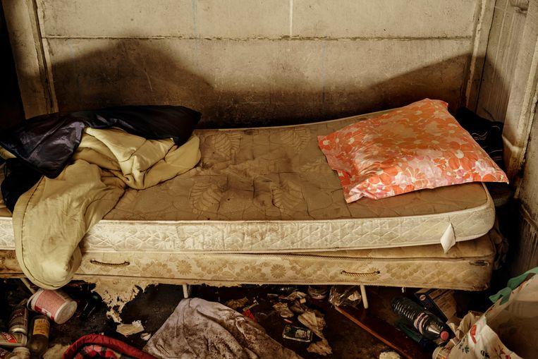 In de nacht van de telling sliepen 58 personen in dit soort 'niet-conventionele ruimte', zoals een auto, garagebox of kraakpand. Zij zijn 'verborgen' daklozen. Beeld Eric de Mildt