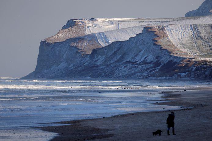 """La côte glaciale de Wissant et le """"Cap Blanc Nez"""" ce 9 février, alors que la France se prépare à un épisode de """"grand froid"""""""