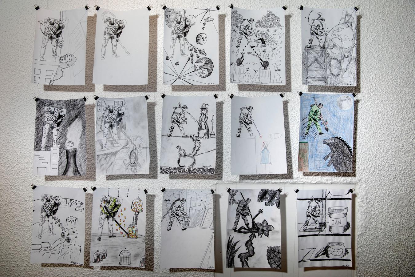 Een aantal van de tekeningen die leerlingen van het Sint-Joriscollege maakten voor het project 'AvantGardeners'.