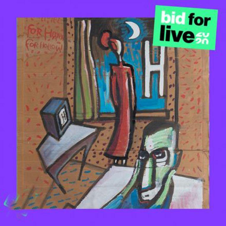 Het originele artwork van de 'Hotellounge'-single van dEUS: 'Na een uur was er al meer dan 3.000 euro geboden. Dat is meer dan wat memorabilia, hè. Dat is kunst.' Beeld Humo