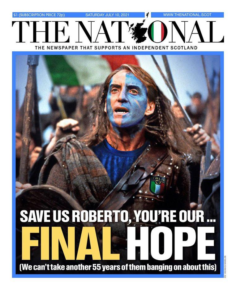 Roberto Mancini, afgebeeld als William Wallace. Beeld The National