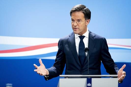 Premier Mark Rutte tijdens zijn persconferentie na de wekelijkse ministerraad.