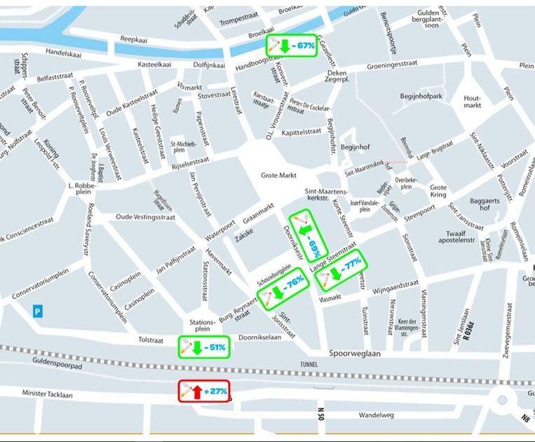 Op het kaartje zie je waar het aantal peuken op straat daalt en waar het aantal peuken stijgt