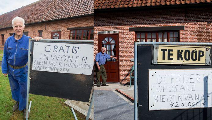 In april ging Herman nog op zoek naar een vrouw (en erfgename) via een bordje in zijn tuin (links). Nu is het een bordje 'Te koop' geworden.