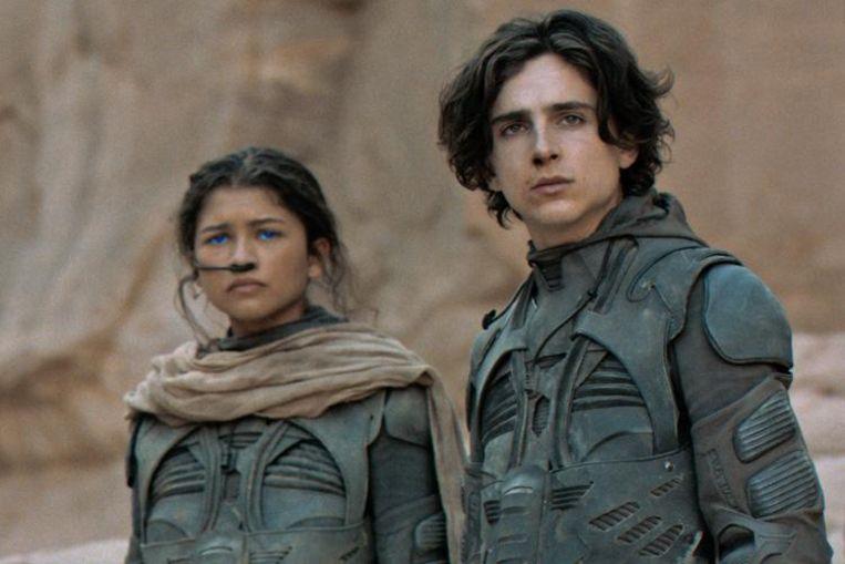 Zendaya en Timothée Chalamet in 'Dune'.  Beeld Filmstill