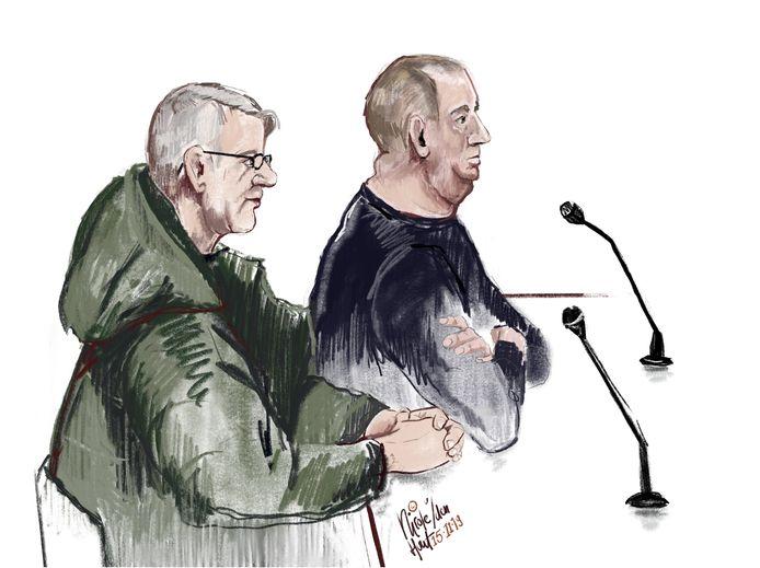 De broers op een rechtbanktekening.