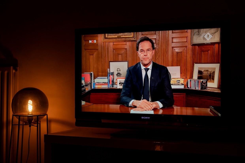 Premier Mark Rutte had het maandagavond in zijn speech over het kweken van groepsimmuniteit. Beeld ANP