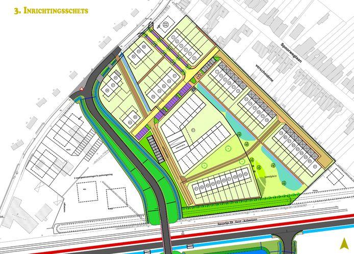 Een nieuwe ontsluitingsweg met een brug of tunnel ter hoogte van de spoorweg zal de verkaveling doorkruisen. Geen fraai vooruitzicht voor de toekomstige bewoners vindt het buurtcomité.