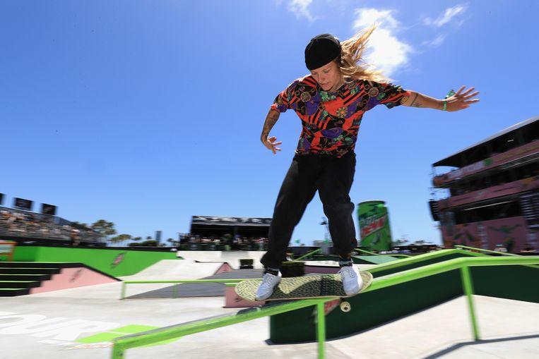 Candy Jacobs is de huidige nummer 5 in de wereld van skateboarden, maar kan nu niet deelnemen aan dit nieuwe onderdeel op de Olympische Spelen.  Beeld Getty