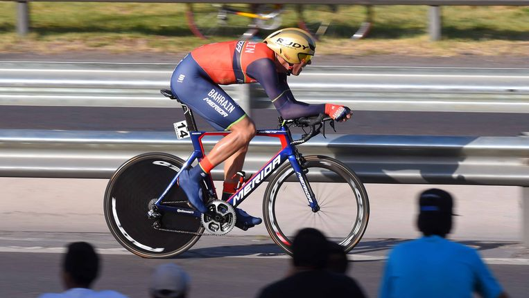 De Litouwer Ramunas Navardauskas (Bahrein-Merida) heeft woensdag de derde etappe in de Ronde van San Juan (Arg/2.1) gewonnen, een individuele tijdrit over 11,9 km in San Juan. Beeld TDW