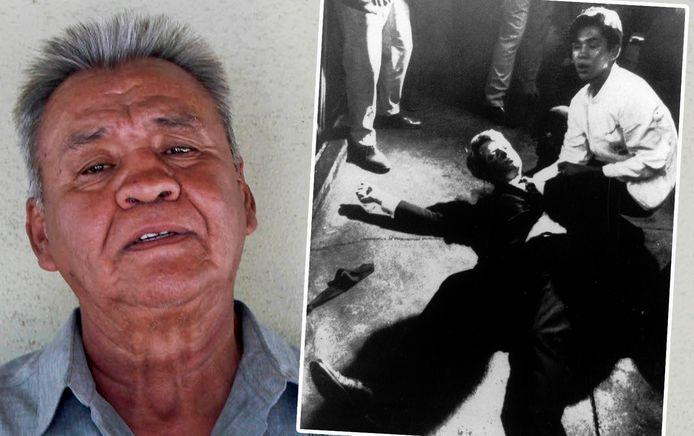 Juan Romero vandaag (links). Rechts zie je hem op de iconische foto uit 1968, naast het lichaam van RFK.