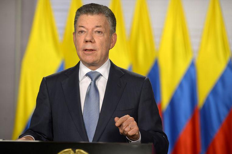 """Colombiaans president Juan Manuel Santos tijdens zijn speech over de toetreding van Colombia als """"globale partner"""" van de NAVO."""