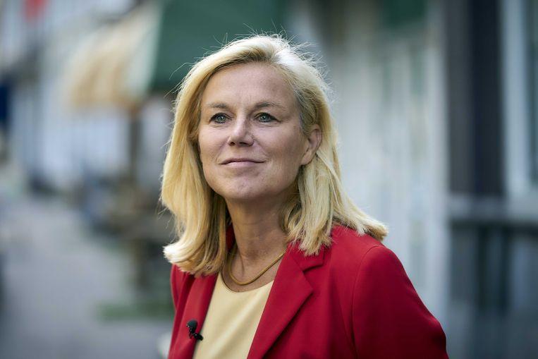 Minister Sigrid Kaag voor buitenlandse handel en ontwikkelingssamenwerking staat de pers te woord over het lijsttrekkerschap van D66.  Beeld ANP