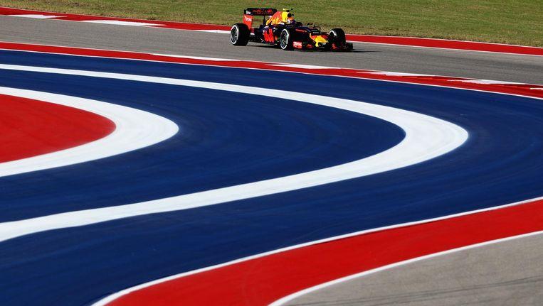 Max Verstappen tijdens de vrije training in Amerika. Beeld Getty Images