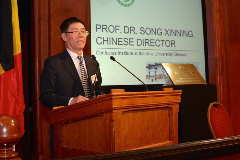 Xinning Song bij de lancering van het Confuciusinstituut aan de VUB in maart 2016 Beeld RV