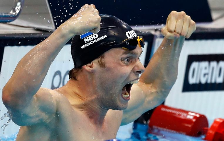 Sebastiaan Verschuren from The Netherlands celebrates after winning the gold medal in the Men's 200m Freestyle Final during the European Swimming Championships at the London Aquatics Centre in London, Wednesday, May 18, 2016. (AP Photo/Matt Dunham) Beeld AP