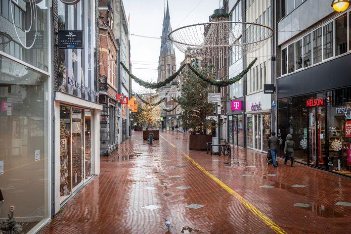De lege binnenstad van Eindhoven tijdens de lockdown in december 2020.