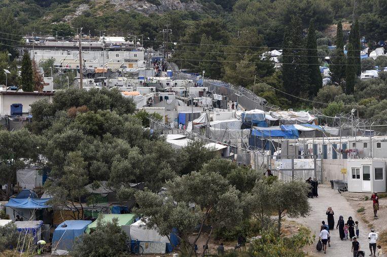Het vluchtelingenkamp op Samos in 2019. Beeld Hollandse Hoogte / AFP