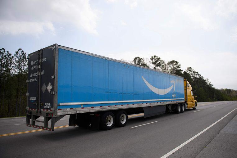 Een vrachtwagen van Amazon. Beeld AFP
