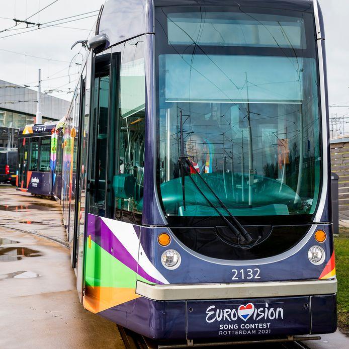 Tram in Rotterdam tijdens het Eurovisie Songfestival.