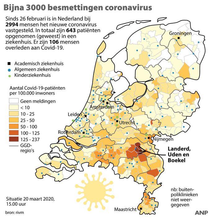 Deze Nederlandse landkaart met het aantal besmettingen dateert van vrijdag. Drie regio's in Noord-Brabant kleuren donkerrood.