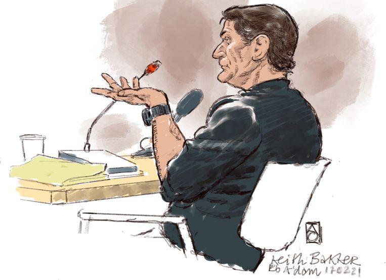 Rechtbanktekening van Keith Bakker. Beeld ANP