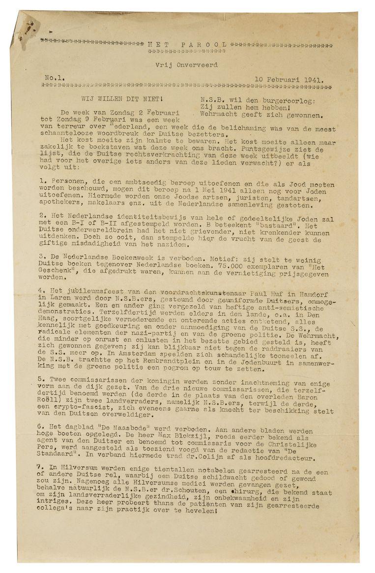 De eerste editie van Het Parool, 10 februari 1941. Beeld Het Parool
